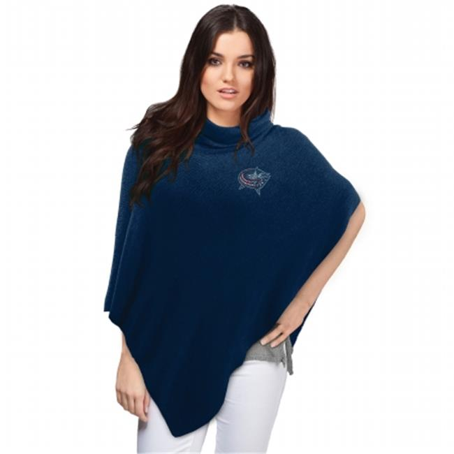 Little Earth Productions 551114-JKTS-NAVY Columbus Blue Jackets Crystal Knit Poncho Navy by Little Earth Productions