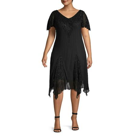 Badgley Mischka Cocktail Dress - Plus Beaded Cocktail Dress With Godet Skirt