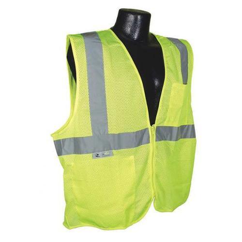 RADIANS SV2ZGM5X High Visibility Vest, 5XL, Slvr, 36in., Zppr