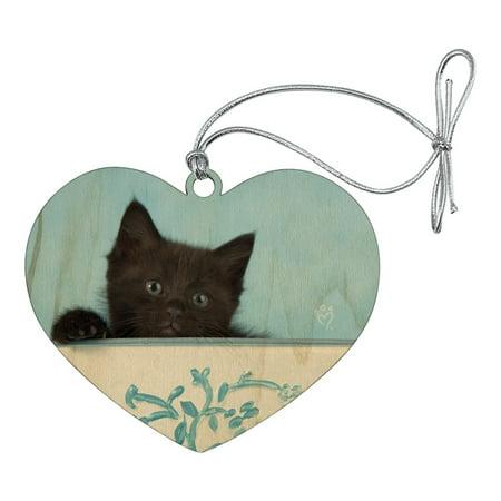 Black Kitten Cat in Bucket Tin Pail Heart Love Wood Christmas Tree Holiday - Holiday Bucket