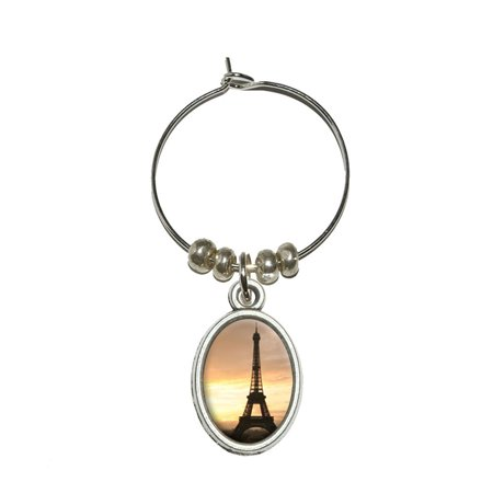 Paris - Eiffel Tower at Sunset Oval Wine Glass Charm - Paris Wine Glass