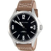 Hamilton H76665835 Khaki Aviation Automatic Dial Olive Leather Mens Watch (Black)