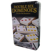 Double Six Dominoes in Tin, Tile Game for Kids and Adults Aged 8 and up