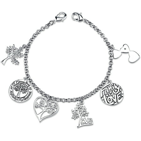 Family Link Charms (Stainless Steel I Love My Family Tree Charm Link Bracelet, 7.5