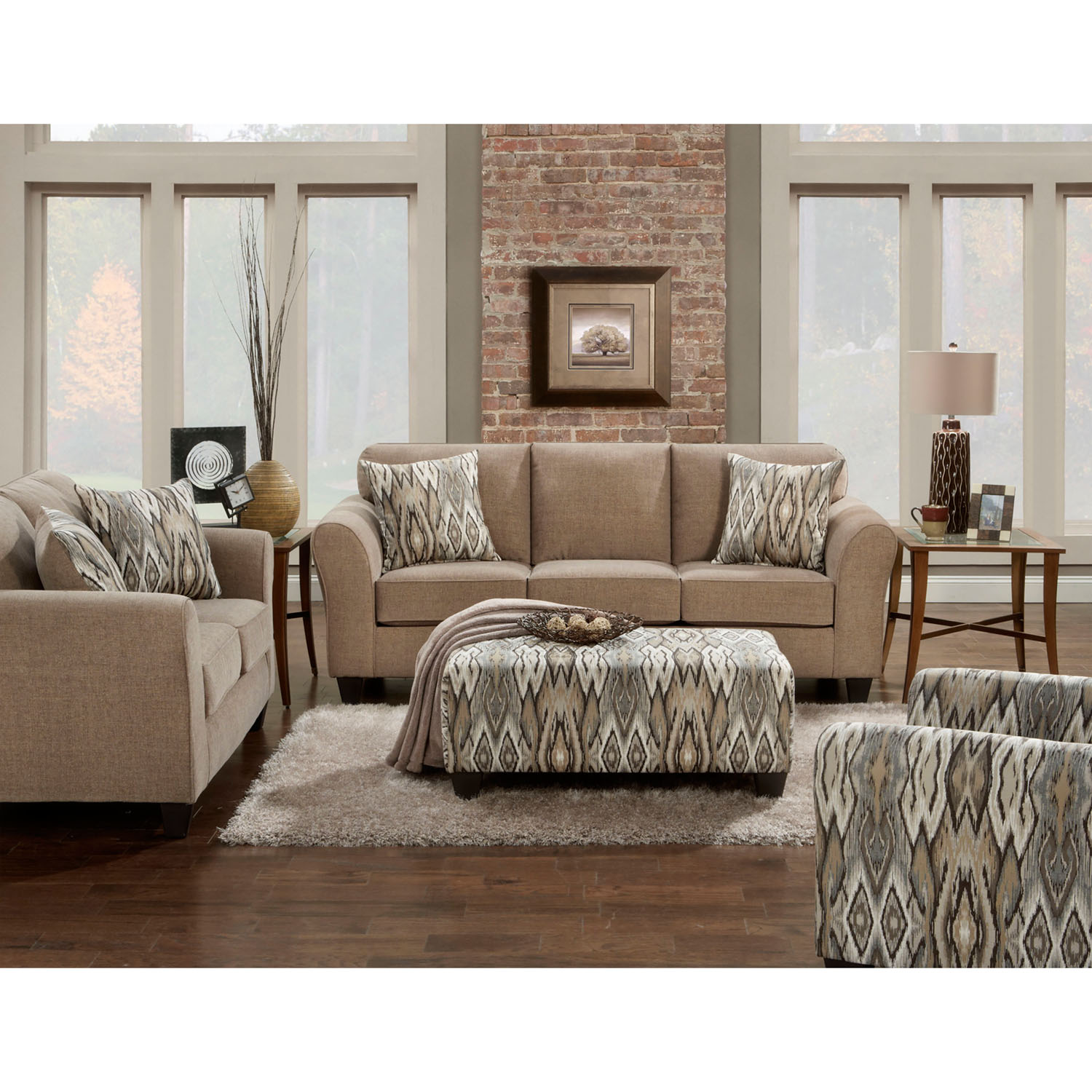 Cambridge Haverhill Two Piece Living Room Set in Tan: Sofa and Loveseat