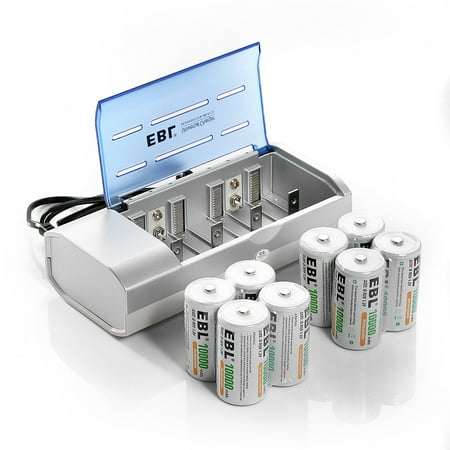 EBL 8-Pack 10000mAh R20 Size D Battery + Battery Charger for AA AAA C D Ni-MH Ni-CD Rechargeable