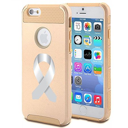 Apple iPhone 6 6s Shockproof Impact Hard Case Cover Diabetes - Brain Cancer - Parkinson's Disease - Lung Cancer Awareness Ribbon (Gold (Best Diabetes App For Iphone 6)