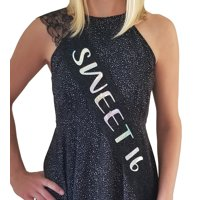 SWEET 16 Lace Sash: 16th Birthday Sash, Birthday Party Favor, Party Supplies Decorations (Black)