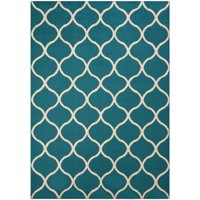 Mainstays Sheridan Fret Olefin High Low Loop Tufted Area Rug or Runner, Teal/Sand, 5' x 7'