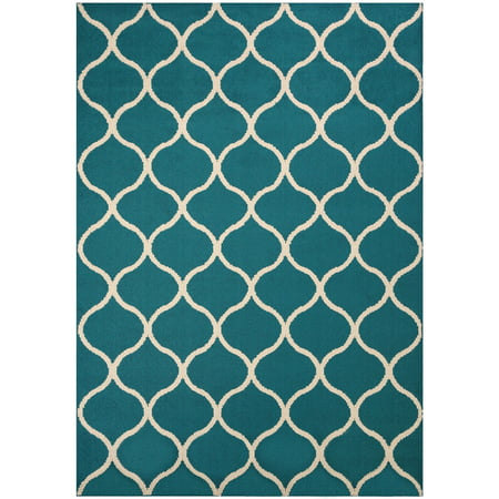 Mainstays Sheridan Fret Olefin High Low Loop Tufted Area Rug or Runner, Teal/Sand, 5' x