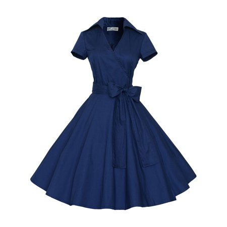 50s Girl Fashion (Women Vintage Dress 50S 60S Swing Pinup Retro Casual Housewife Party Ball Gown Fashion Short Sleeve turn-down collar)