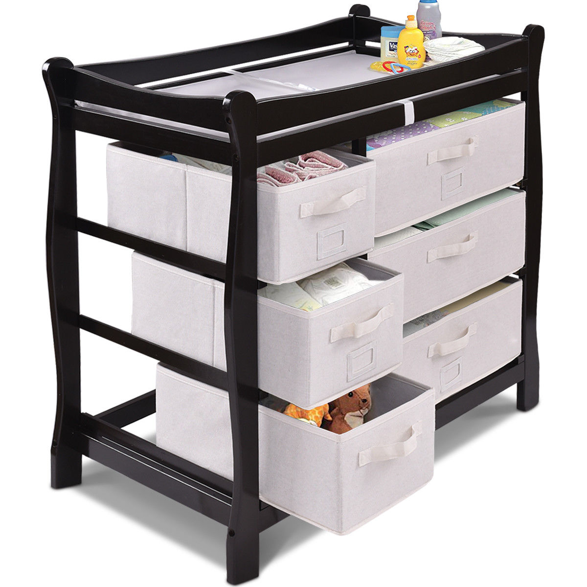 Costway Espresso Sleigh Style Baby Changing Table Diaper 6 Basket Drawer Storage Nursery