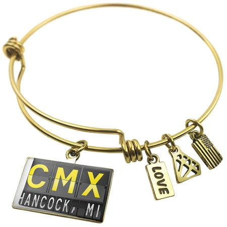 Expandable Wire Bangle Bracelet Cmx Airport Code For Hancock  Mi   Neonblond