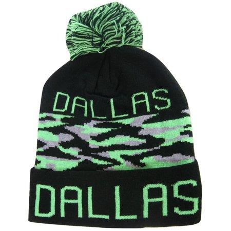 Dallas Adult Size Camo Winter Knit Pom Beanie Hats (Green)