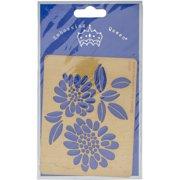 "Embossing Queen Brass Stencil 4.5""X3.5""-Flower #7"