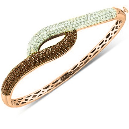 White Gold Round Diamond Bangle (3.00 Carat (ctw) 10K Rose Gold Round White & Red Diamond Ladies Fashion Bangle Bracelet 3 CT)