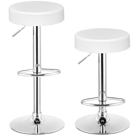 Gymax Set of 2 Adjustable Round Leather Seat Hydraulic Swivel Bar Stool White ()