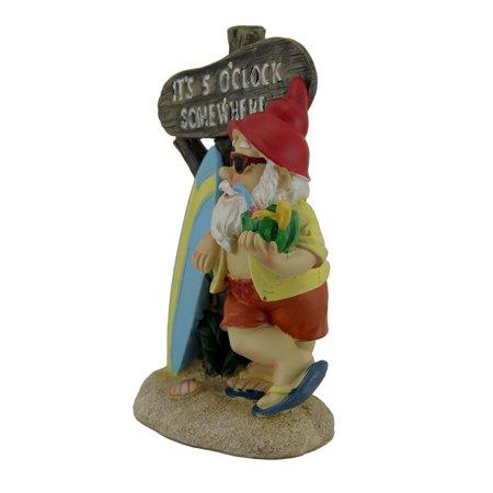 It's 5 O'clock Somewhere Tropical Beach Bum Gnome Statue - image 2 de 3