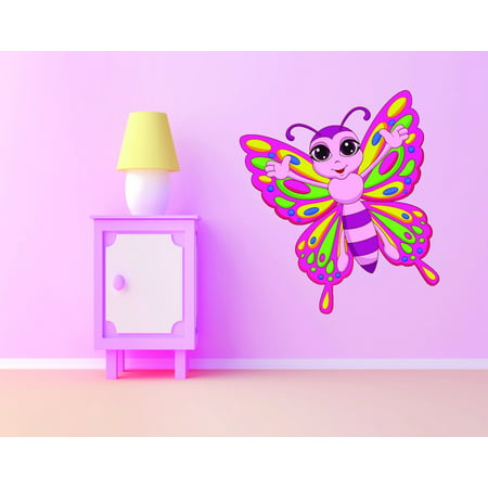 Custom Wall Decal : Colorful Butterfly Kids Girls Teen Baby Nursery Bedroom 12x12 Inches
