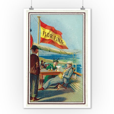 Flor Fina Brand Cigar Box Label - Nautical (9x12 Art Print, Wall Decor Travel Poster) - Nautical Box