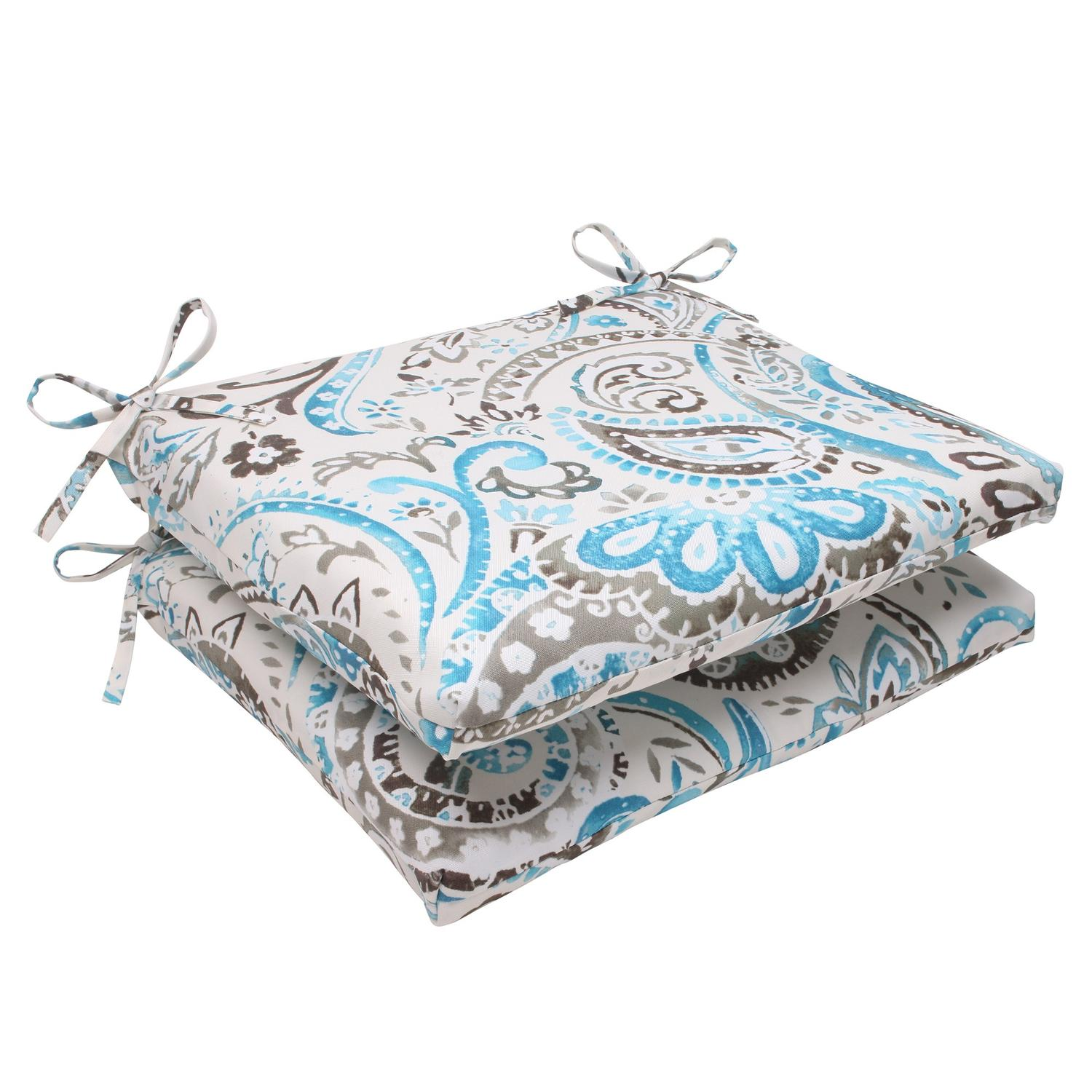 """Set of 2 Turquoise & Gray Paisley Swirl Outdoor Square Chair Cushions 18.5"""" by CC Outdoor Living"""