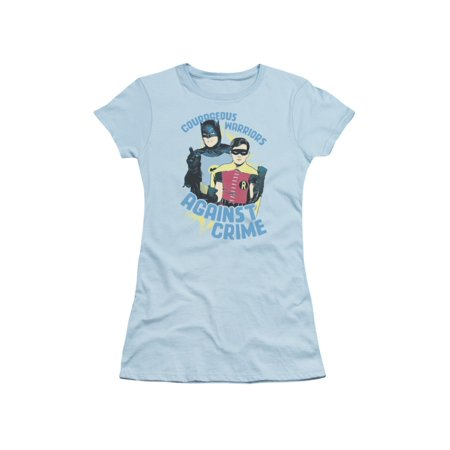Batman Classic TV DC Comics Courageous Warriors with Robin Juniors Sheer T-Shirt](Batman And Robin Girls)