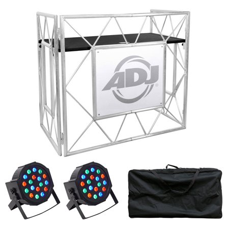 American DJ Pro Event Table II Metal DJ Booth Truss Facade+Carry Case+Par Lights American Dj Intelligent Light