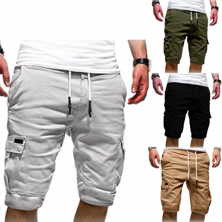 Men Casual Jogger Shorts Sports Cargo Pants Military Combat Workout Gym