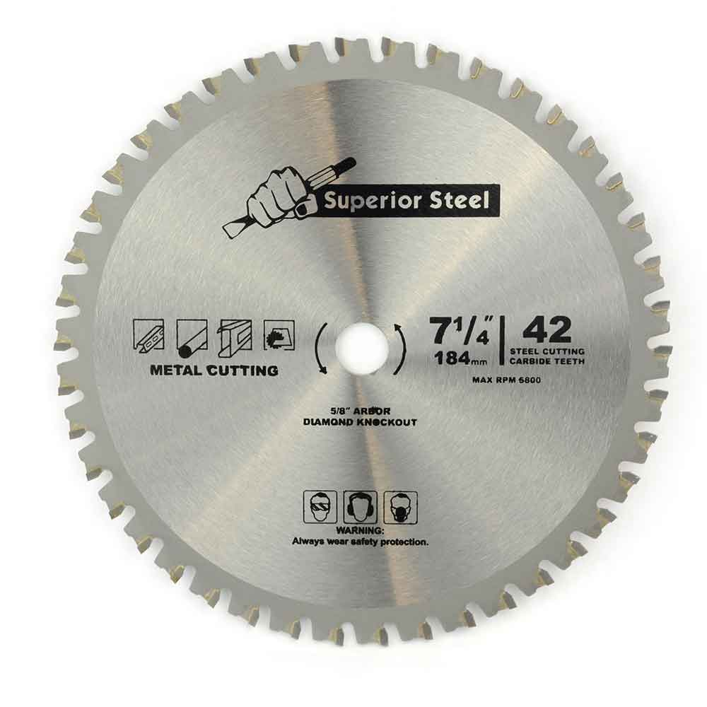 "Superior Steel 18542 7-1/4"" 42 Teeth 5/8"" Arbor Metal Ferrous Cutting Carbide Tipped Saw Blade -18542"