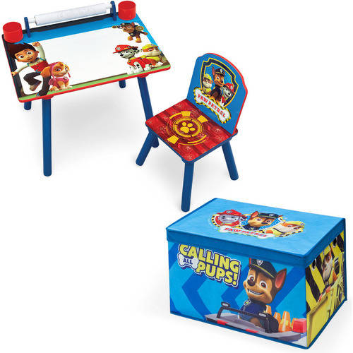 Nick Jr. PAW Patrol Art Desk with Fabric Toy Box Playroom Value Bundle