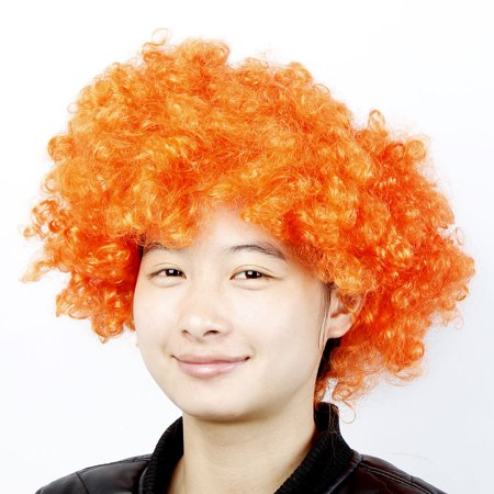 Cosplay Party Orange Synthetic Fiber Fancy Afro Wig