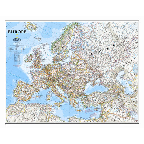 Map Of Europe With Scale.National Geographic Maps Europe Classic Wall Map Walmart Com
