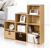 EECOO 3/4-Shelf Shelving Bookcase,Wooden Bookcase Stand Cube Storage Unit Bookshelf CD Display Shelving Unit free combination