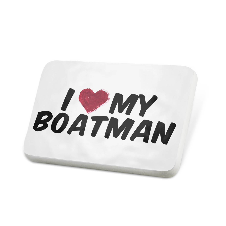 Porcelein Pin I heart love my Boatman Lapel Badge – NEONBLOND