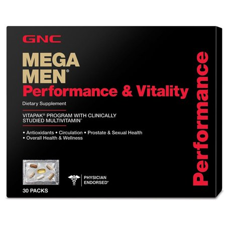 GNC Mega Men Performance and Vitality Daily Multivitamin Vitapak , 30 Count , Prostate Sexual Health
