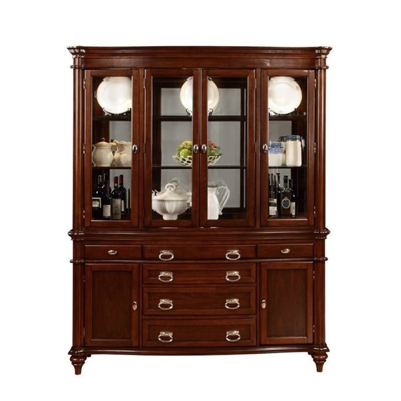 Bowery Hill 6 Drawer China Cabinet in Cognac by Bowery Hill