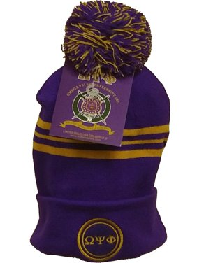 31b0e26fe12 Product Image Buffalo Dallas Omega Psi Phi Striped Mens Knit Cuff Beanie Cap  with Ball  Purple