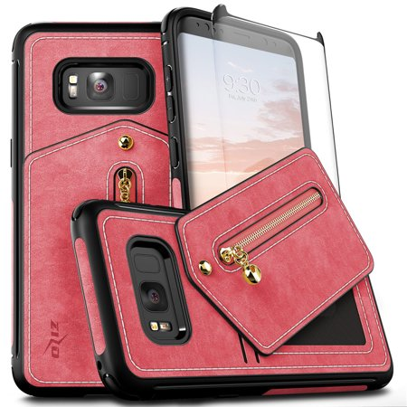 Zizo NEBULA Wallet Series compatible with Samsung Galaxy S8 Case with Tempered Glass Screen Protector Slim Leather Folio Card Slots PINK BLACK
