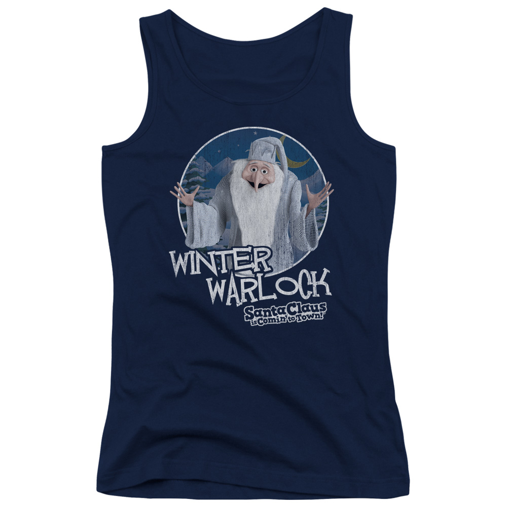 Santa Claus Is Comin To Town Winter Warlock Juniors Tank Top Shirt