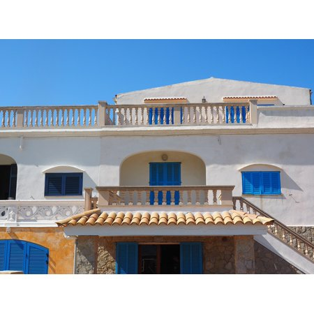 Canvas Print Home Roof Terrace Balcony Holiday House Mallorca Stretched Canvas 10 x 14 ()