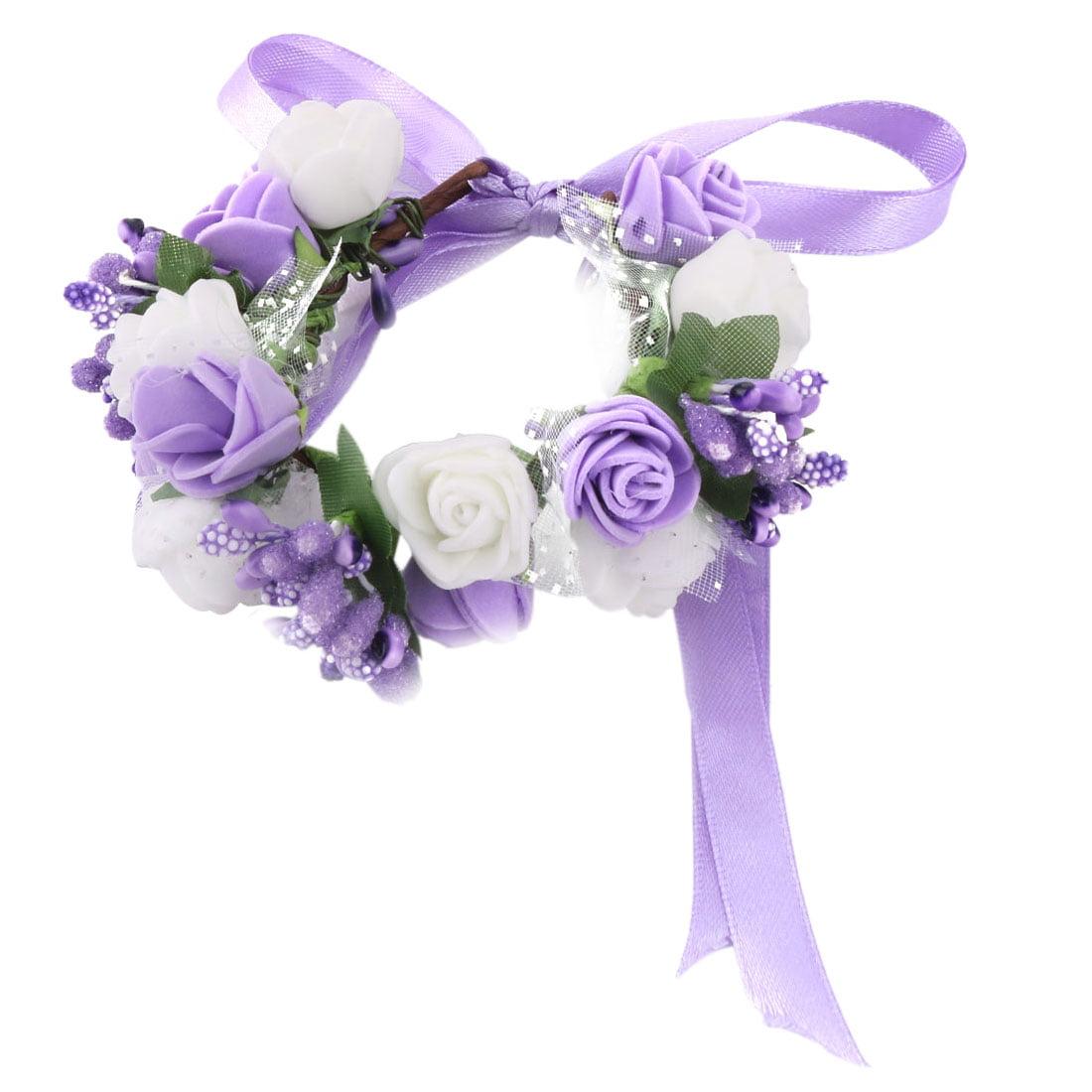 Bride Wedding Foam Double Layer Artificial Wrist Flower DIY Decor Purple White