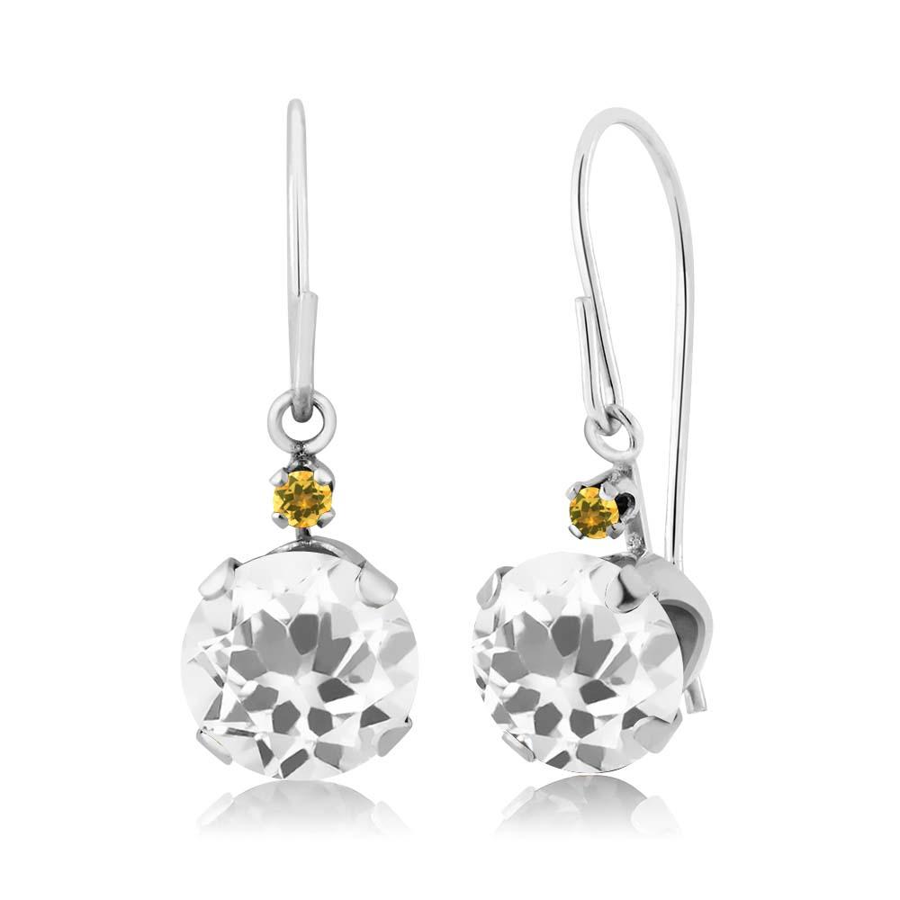 1.44 Ct Round White Quartz and Yellow Simulated Citrine 14K White Gold Earrings