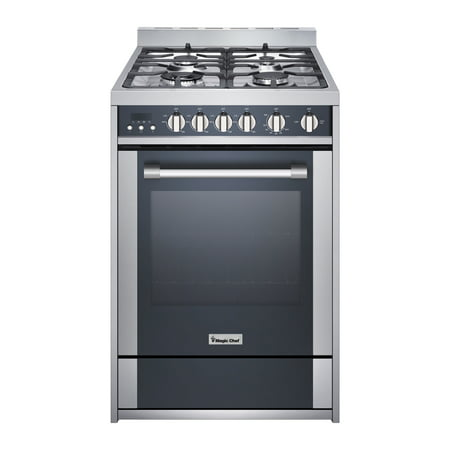 Magic Chef 24 Inch Freestanding Gas Range, Stainless and Black White Freestanding Gas Range