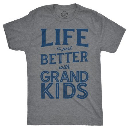 Life Mens Tee - Mens Life Is Just Better With Grandkids Tshirt Funny Grandparents Tee For Guys