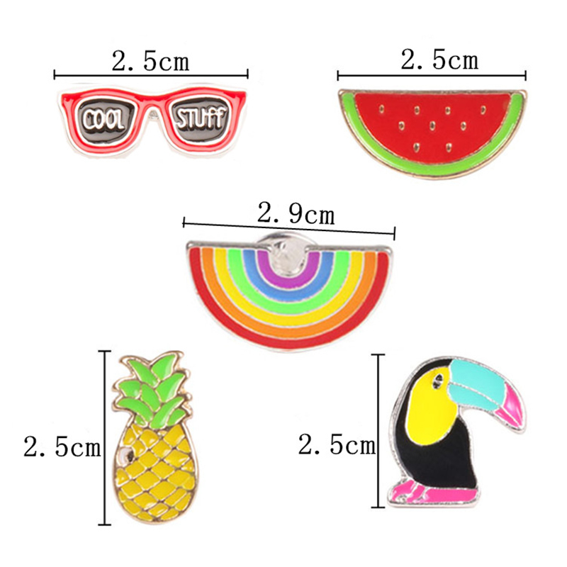Stylish Woodpecker Watermelon Cartoon Brooch Creative Unique Alloy Breastpin Clothing Bag Hat Accessories - image 1 of 7