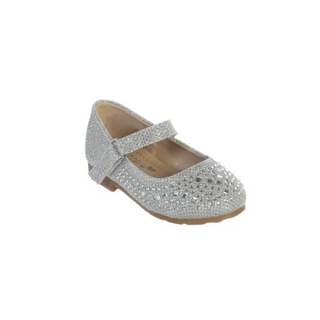 Silver Shoes Girls (Little Girls Silver Sparkling Rhinestone Metallic Mary Jane)