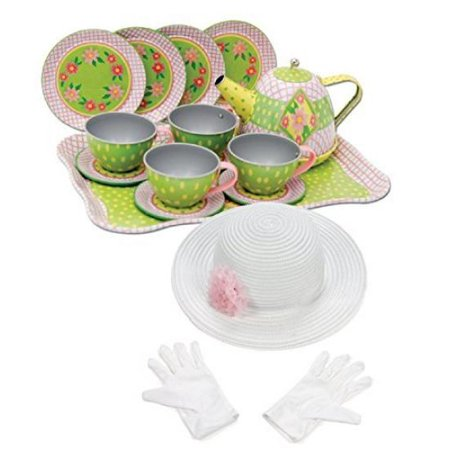 Schylling Floral Tin Tea Set in a Case with Fun Express Polyester Tea Party Hat and Gloves Set](Tea Party Hats And Gloves)
