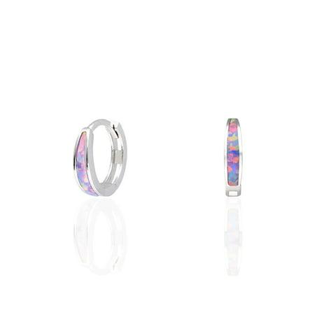 Pink Tourmaline Daisy - 925 Sterling Silver Fire Opal Huggie Hoop Earrings 0.5