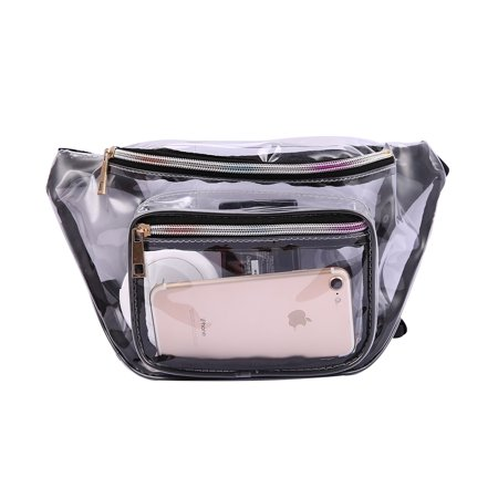 Clear Fanny Pack for Stadium Security Waist Bag Pouch Transparent Vinyl Pouch Zipper Pockets (Customizable Fanny Packs)