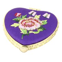 Silk Embroider Heart Shape Folding Portable Pocket Makeup Cosmetic Mirror Purple